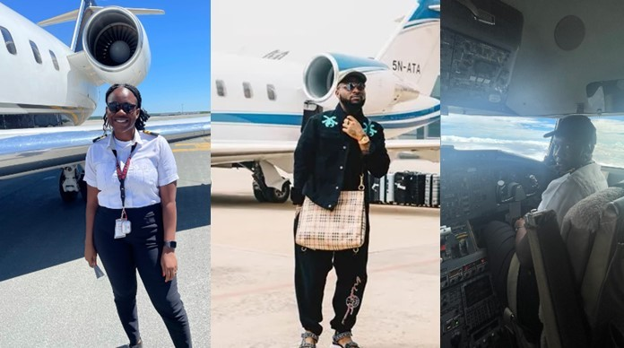 Female Pilot who begged Davido to employ her celebrates as she becomes private jet pilot