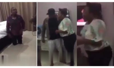 man catches his wife in a hotel room with her lover